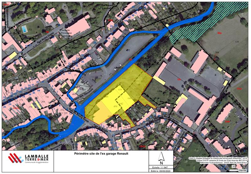 Plan site ancien garage Renault à Lamballe-Armor